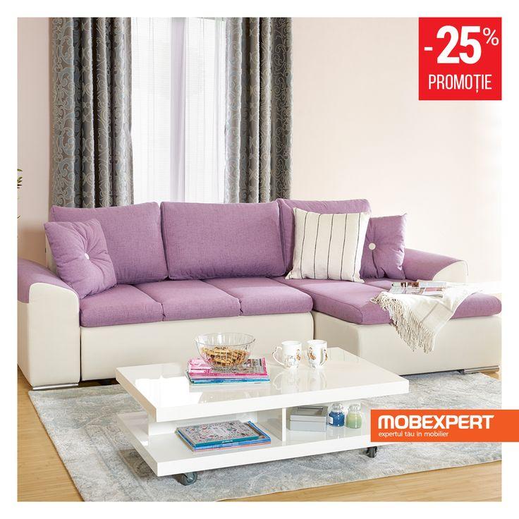 O canapea vesel colorată desăvârșește armonia livingului. #living #canapea #mobexpert