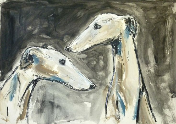 Two sighthounds, mixed media on board, 50 x 70 cm