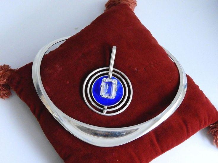 RARE Vintage DAVID ANDERSEN Norwegian MODERNIST Necklace Norway Silver Enamel A1 #DavidAndersen