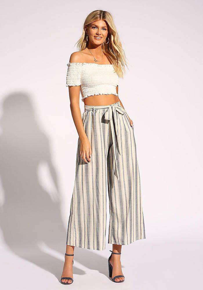 182b98cc83a0cf Junior Clothing | White and Navy Stripe Waist Tie Palazzo Pants - Most  Loved | Loveculture.com