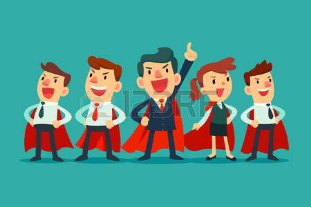 equipo dueño de Super - Ilustración de hombres de negocios líder y súper súper en capas rojas