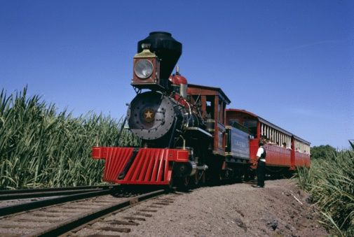 Steam train from 1860, reconstructed 1970, Maui Island, Hawaii, United States of America (USA), North America