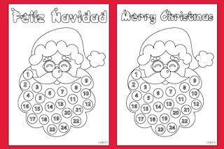 Free template. Advent calendar Santa's beard. Plantilla gratuita. Calendario de adviento barba de Papa Noel.