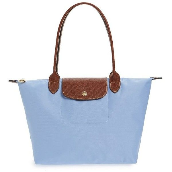 Women's Longchamp 'small Le Pliage' Shoulder Tote ($125) ❤ liked on Polyvore featuring bags, handbags, tote bags, blue mist, nylon tote bags, shoulder tote bags, blue tote, shoulder tote and tote handbags