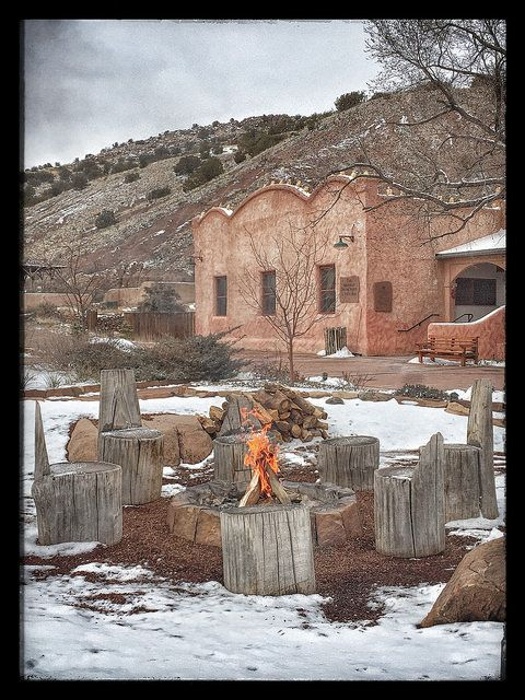 Ojo Caliente Mineral Springs Spa New Mexico Fire Pit Snow