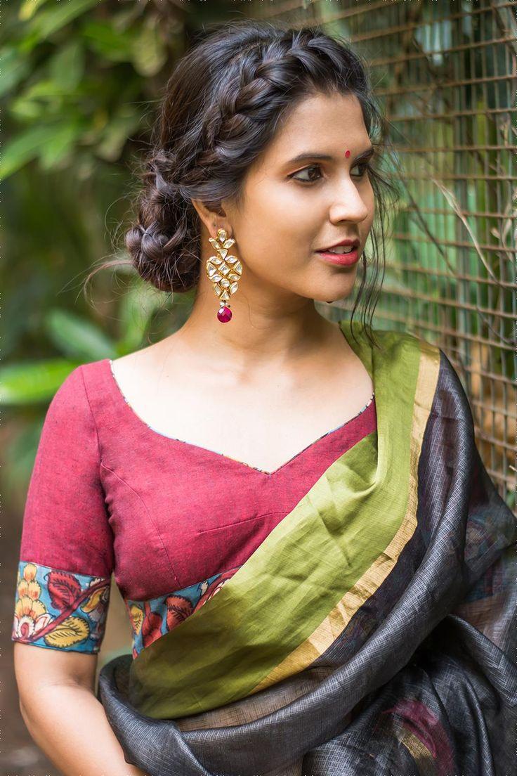House Of Blouse Maroon Khadi cotton and hand painted Kalamkari sweetheart neck blouse