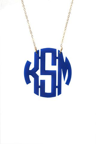 Acrylic Block Monogram Necklace- have a metal script one, but love the idea of a block style in tortoise acrylic !