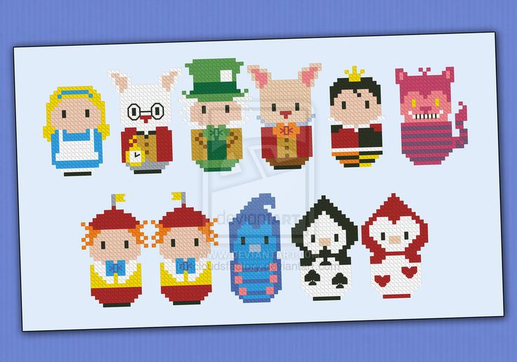Mini People - Alice in Wonderland cross stitch by cloudsfactory on deviantART