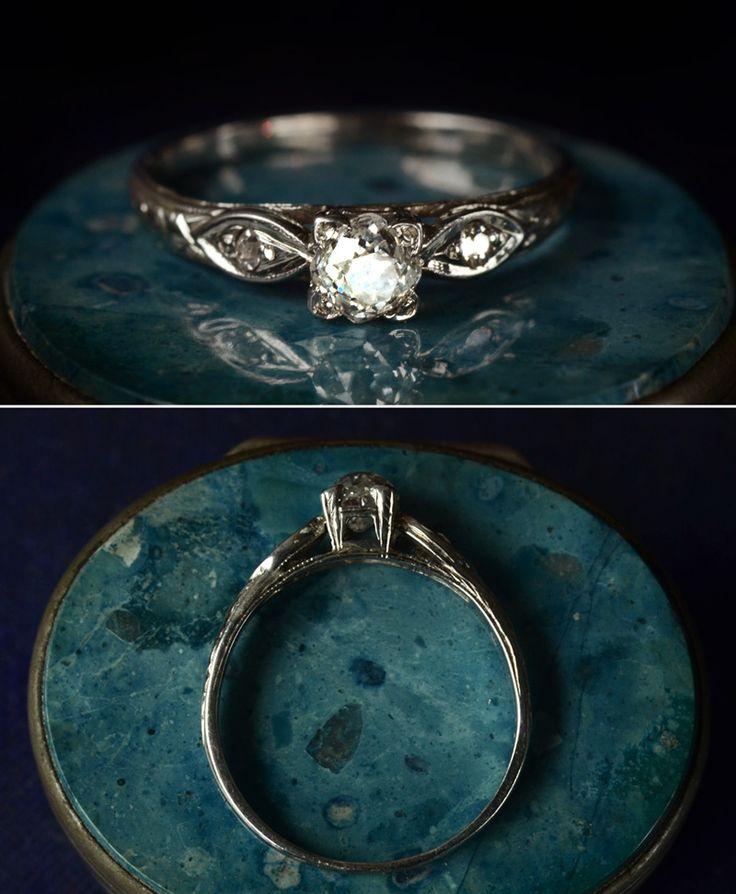 1920s Art Deco ~0.30ct Old Mine Cut Diamond Ring, 18K White, $895