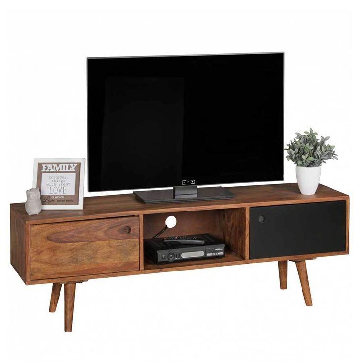 Sheesham Massivholz Schwarz TV Board 140 cm Jetzt bestellen bei: moebel.la …