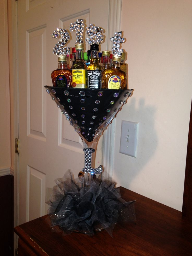 21st Alcohol Arrangement! Martini cup, 21 mini alcohol bottles.