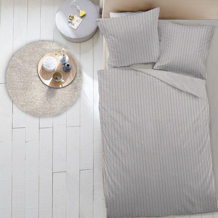 Dormisette Uni Flanell Bettwäsche Streifen grau online kaufen