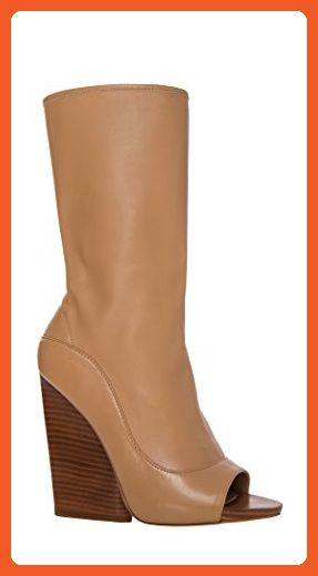 Max Studio by Leon Max Ellis - Peep-toe Mid Shaft Booties - 5F01536-CAMEL-7.5 - Boots for women (*Amazon Partner-Link)