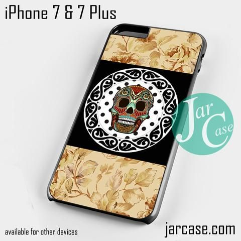 Vintage Floral Skull Phone case for iPhone 7 and 7 Plus