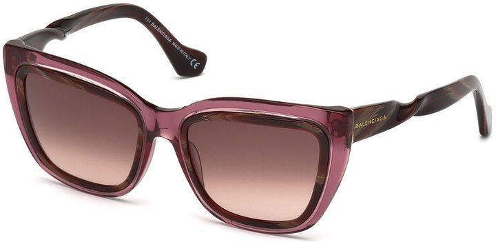 Balenciaga Two-Tone Twisted Cat-Eye Sunglasses, Transparent Red Wine/Burgandy - $129.35