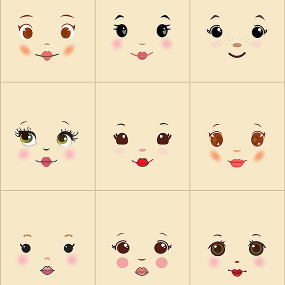 Sweet and simple doll faces on cream background  Fabric doll face panel with 9 different faces—these sweet little faces were inspired by rag dolls and cloth dolls with sweet embroidered faces.  Use these cotton poplin faces in your original doll projects. The scale is great for dolls 10 to 18 inches (25-46 cm) tall depending on desired head proportions. Square size: 3.5 inches wide by 4 inches tall (9 by 10 cm) Flat face size: about 3.5 inches tall (9cm) Stuffed face size: 3 inches (8cm)…