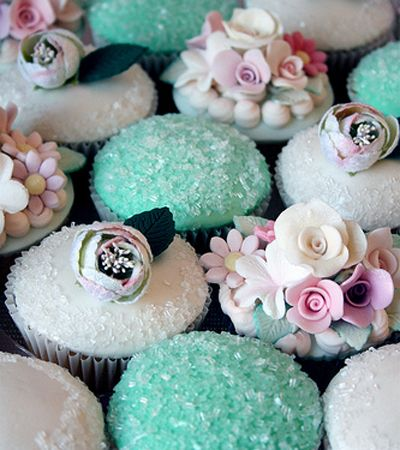 Crystals and Tiffany blue cupcakes