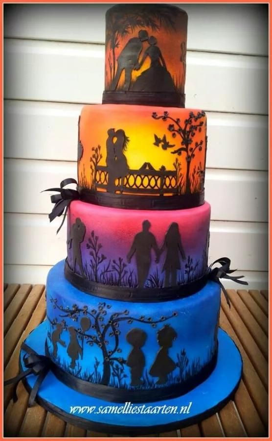 Sunset wedding cake...cute but not something id have as a wedding cake..anniversary maybe?