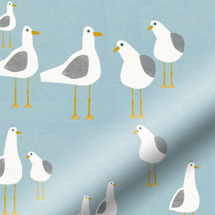 Splash Gulls Seaside Blue Roller Blind