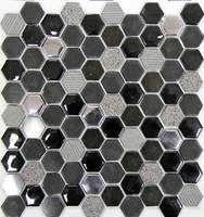 Стеклянная мозаика Hexagono Negro 30.5x30.2