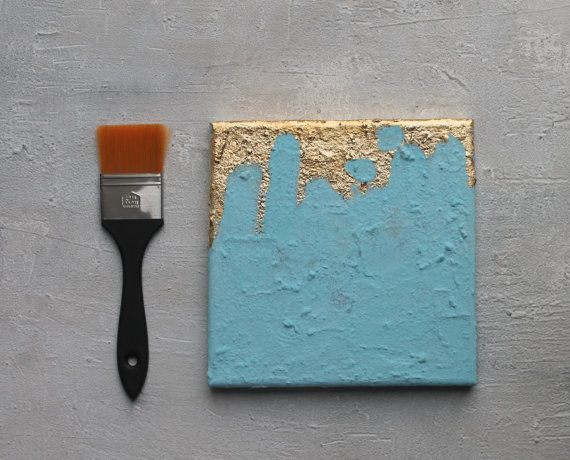 Abstract Painting 8x8x06 pastel turquoise von AtelierMaltopf
