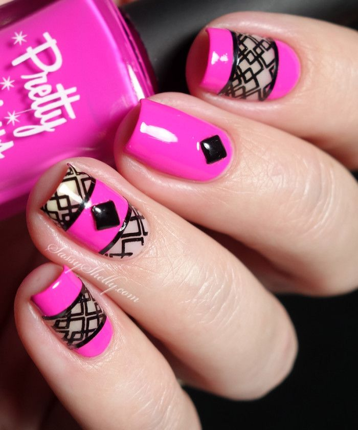 Negative Space Stamping Nail Art - hot pink and black geometric manicure with…