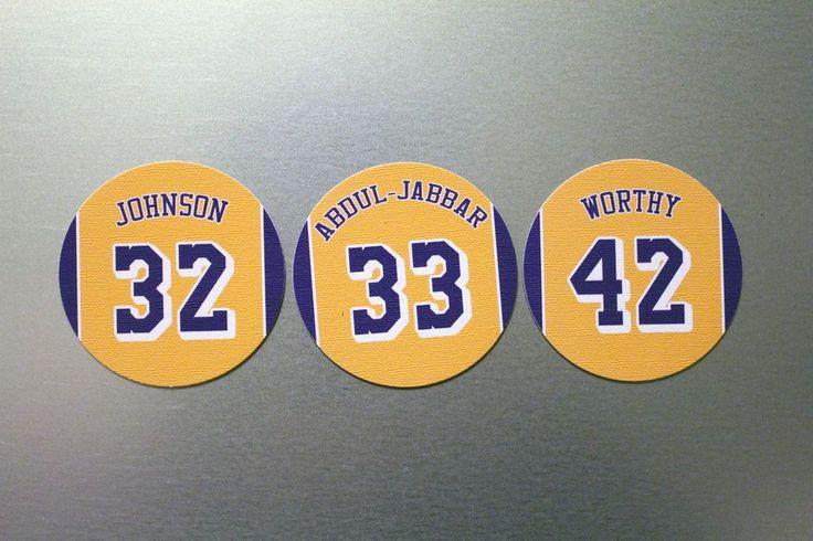 Los Angeles Lakers Magnet Set: Showtime Lakers: Johnson Worthy Abdul-Jabbar #LosAngelesAngels