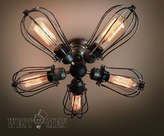 5 arm industrial ceiling light Edison bulb ceiling lamp steampunk 2014 new rustic 5 lights iron cage ceiling fan lamp CEFAN on Etsy, $210.64 CAD