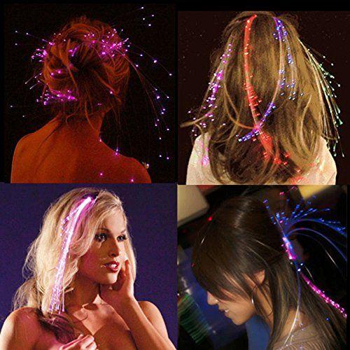 NEO+ - Serie di extension per capelli in fibra ottica a 3, 6, 10 LED Per illuminare i capelli con i colori dell'arcobaleno, di colore blu, rosso, verde o bianco.