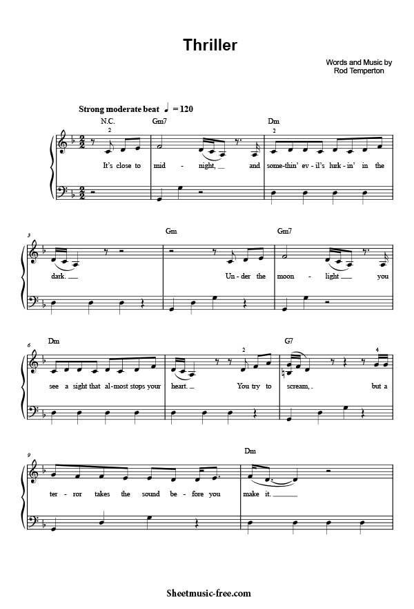 """Thriller Sheet Music Michael JacksonPDF Free Download """"Thriller Sheet Music"""" by Michael Jackson, """"Thriller Sheet Music"""" for Piano / Vocal/ Chords ,Origin"""