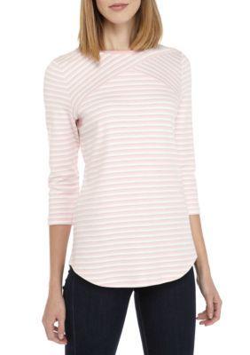 Kim Rogers Women's Three-Quarter Sleeve Cross Shirt - Pink/Ivory - Xl