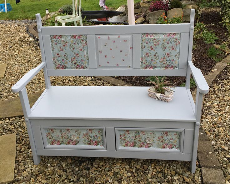 This bench is painted in Autentico French Grey and decoupaged with piretty napkins https://www.facebook.com/gailandronnie/posts/10153225322227126