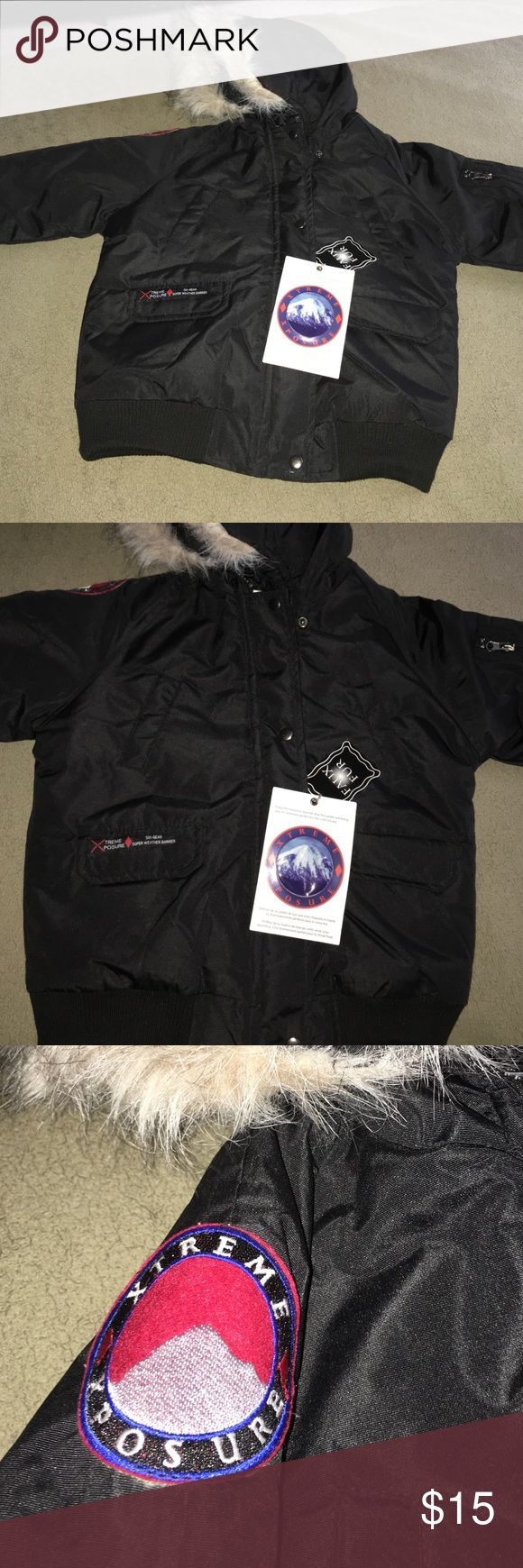 Super Cute & Warm Jacket Very cute ski weather jacket with 4 front pockets and a pocket on the sleeve, this jacket zippers and buttons up with a faux fur hood. Great price! 😀 Jackets & Coats