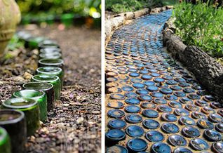 If you have some boring round concrete pavers to reuse, why not upcycle them with paint or surround them with different stones to create 'flowers' on your path. – via Tha Passionate Maker and via Gardens in the Sun