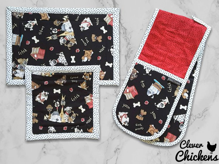 Dogs Oven Gloves Double Oven Mitts Hot Pads - Insulated Quilted Kitchen Set -Polka Dot - White Red Black - Handmade by CleverChickens on Etsy