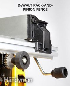 Adjustable rip fence: The DeWalt rack-and-pinion fence adjustment system is easy to use and accurate. - Portable Table Saw Reviews http://www.familyhandyman.com/tools/table-saws/portable-table-saw-reviews/view-all