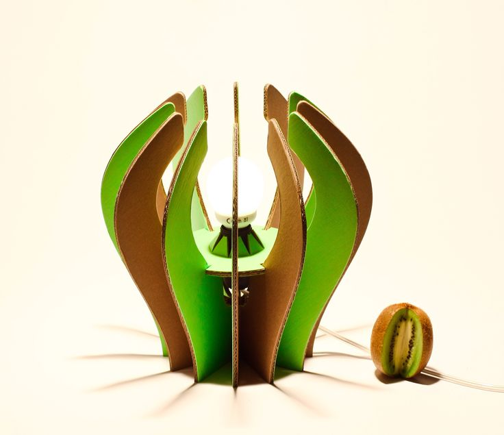 kiwi lampada in cartone avana e verde  Eco lampada in cartone rivestito e rinforzato AVANA & VERDE, www.maketank.it