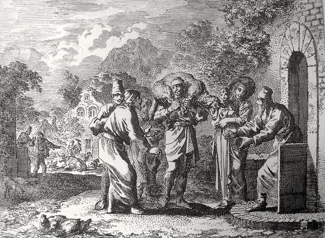 Luke in the Phillip Medhurst Collection 350 The parable of the lost sheep Luke 15:1-7 Jan Luyken on Flickr. A print from the Phillip Medhurst Collection of Bible illustrations, published by Revd. Philip De Vere at St.George's Court, Kidderminster.