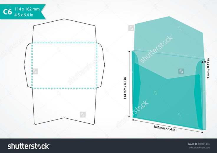 C6 envelope template vector. Die cut envelope mockup. Paper craft. Basic envelope size with custom shape layout. Digital envelope template. May be used with cutting machine.