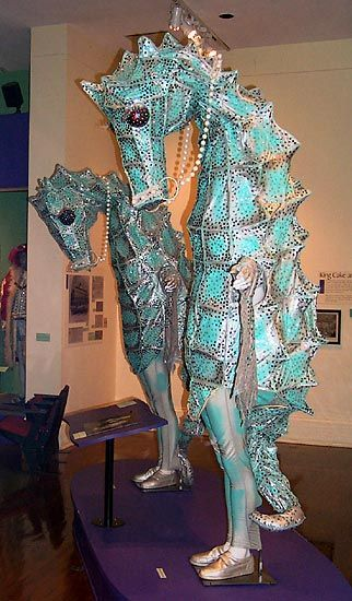 Sea horse costumes in the New Orleans Mardi Gras Museum in the French Quarter.