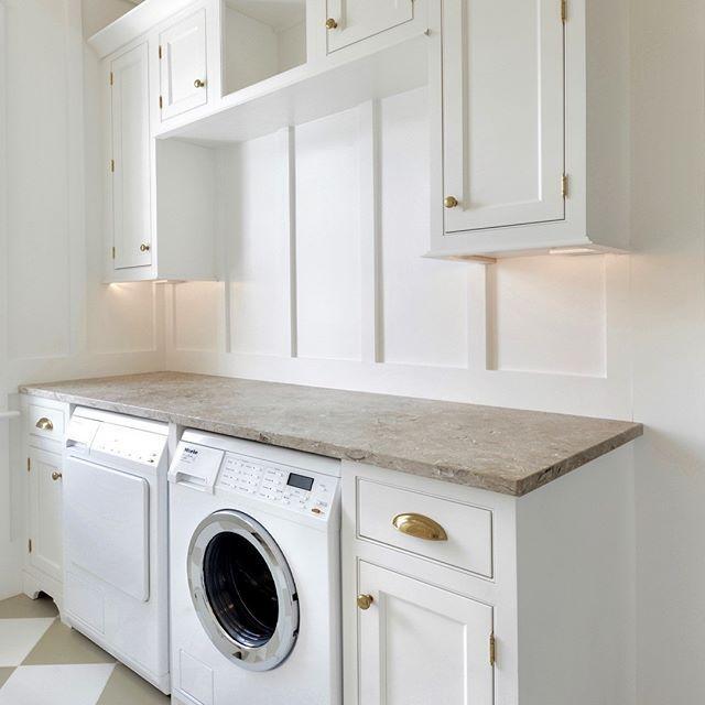 LAUNDRY ROOM | Farmhouse Sink, Shaker Cabinets, Shiplap, Board and Batten, Sandstone, Harlequin Tile, Unlacquered Brass, Drying Racks
