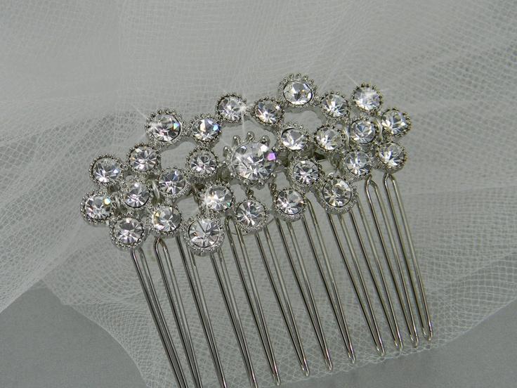 Bridal Hair comb, Crystal hair comb, Swarovski crystal, Wedding, Hair accessories, Hair clip, Cassie Hair Comb. $17.00, via Etsy.