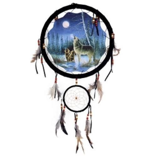 """13"""" Wolf Dream Catcher features three wolves howling on a snowing plain beneath a moon lit sky. The large dream catcher measures 13"""" diameter while the smaller"""