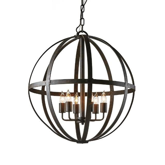 Add old-world charm to your living space with our Medium Orb Chandelier. Iron is hand-forged to form a one-of-a-kind, spherical lighting fixture. A hand-applied antiqued black finish lends Mediterranean styling. Hand-forged iron construction Created by skilled craftsmen using time-honored techniques Hand-applied, antiqued black finish Includes 3-foot chain, installation hardware and instructions UL listed ...