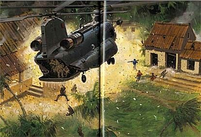 Painting depicting D Sqn 22 SAS fast roping from CH47 ...