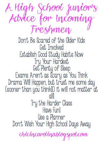Chic in Carolina: A High School Junior's Advice for Incoming Freshmen