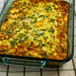 Karyn's Breakfast Casserole Recipe with Artichokes, Goat Cheese, and Canadian Bacon