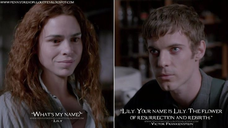 Lily: What's my name? Victor Frankenstein: Lily. Your name is Lily. The flower of resurrection and rebirth. Lily Quotes, Victor Frankenstein Quotes, Penny Dreadful Quotes