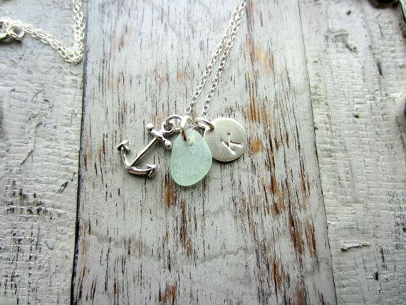 A simple charm necklace that reminds me of my favorite place, the beach! A small sterling silver disc, hand stamped with your choice of initial,
