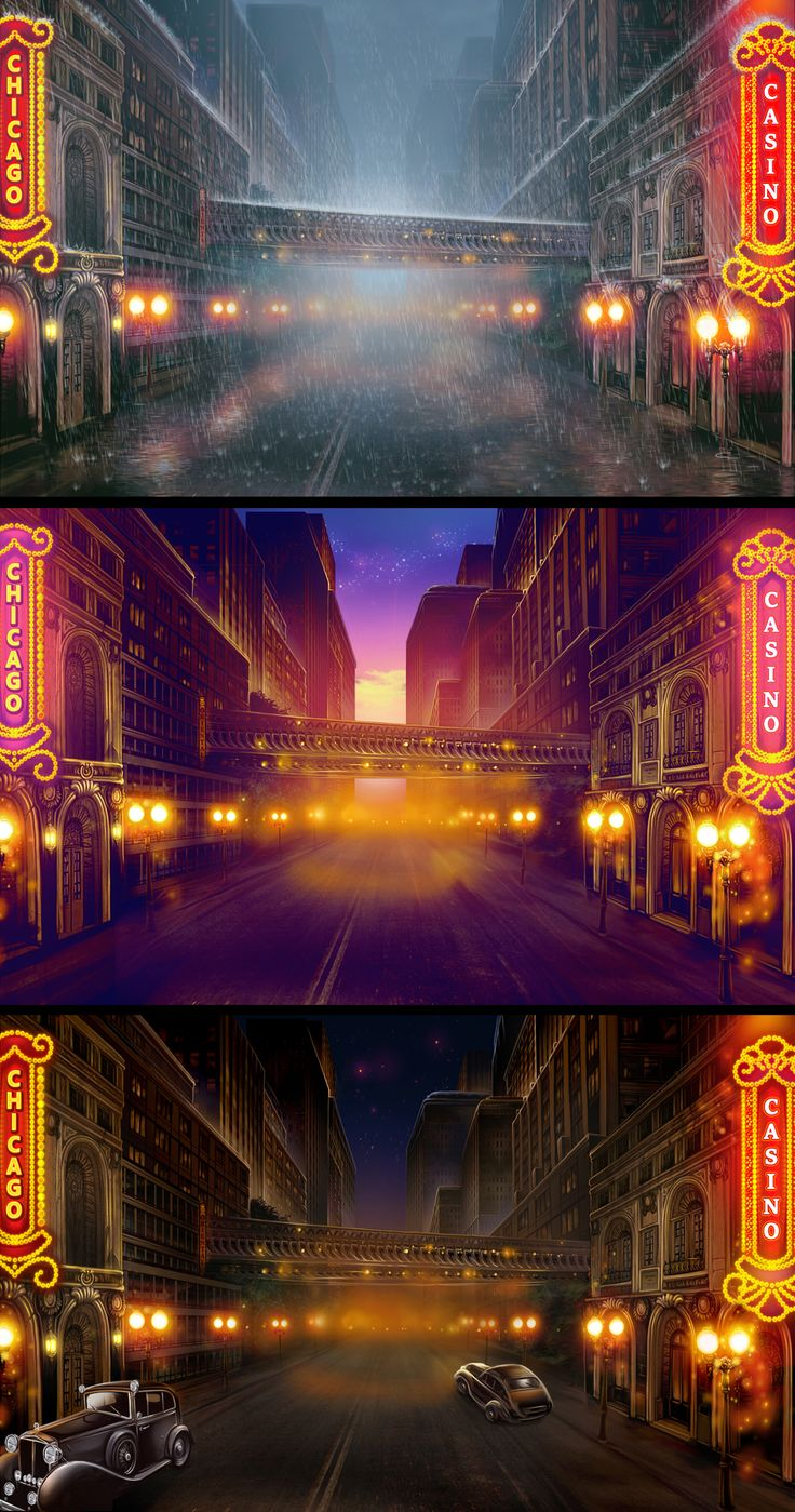 "Graphic design of city backgrounds for the game slot-machine ""Mafia hunt"" http://slotopaint.com/"
